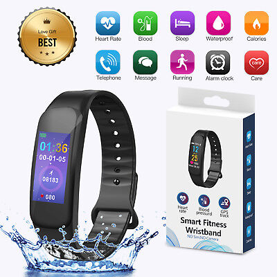 Sports Blood Pressure/Heart Rate Monitor Fitness Smart Watch Wrist Band Bracelet