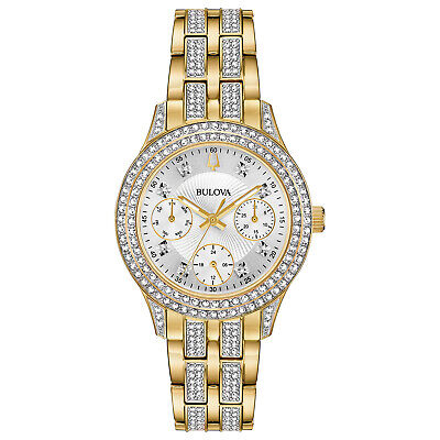 Bulova Women's 98N112 Quartz Crystal Accent Gold-Tone Bracelet 33mm Watch