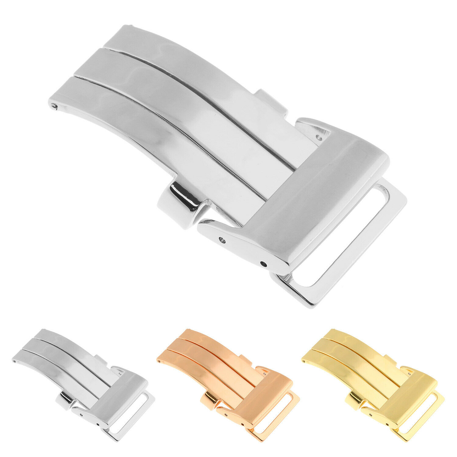 STAINLESS STEEL SPRING RELEASE DEPLOYMENT CLASP CAN EASILY REPLACE YOUR BUCKLE