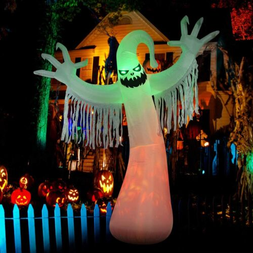 HOT---10 Ft Halloween Inflatables Ghost Decorations, Bulti-in Orange LED Lights