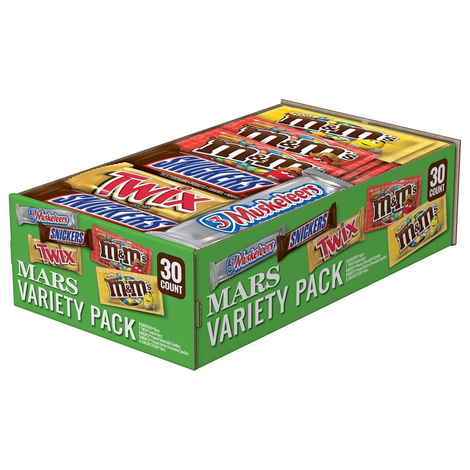 Mars Full Size Candy Bars 30 ct Variety Pack Snickers Twix M