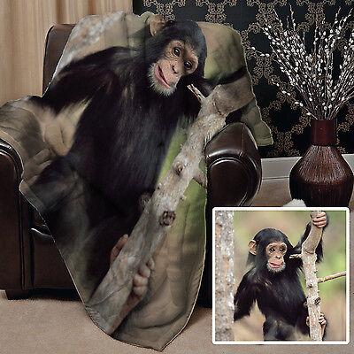 CUTE MONKEY IN A TREE DESIGN ANIMAL SOFT FLEECE THROW BLANKET GREAT GIFT IDEA