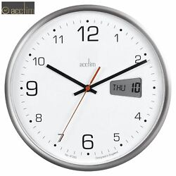 ACCTIM Kalendar Office Digital and Analogue Day Date Quartz Wall Clock 27cm