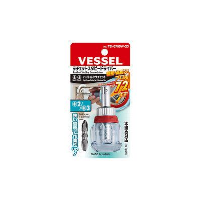 Vessel Ratchet Stubby Screwdriver No.td-6700w-23 Ph No.2no.3