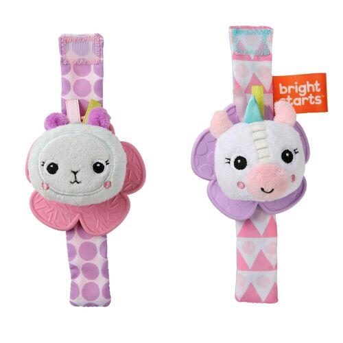 Bright Starts Rattle & Teethe Wrist Pals Toy, Unicorn & Llama, Newborn+