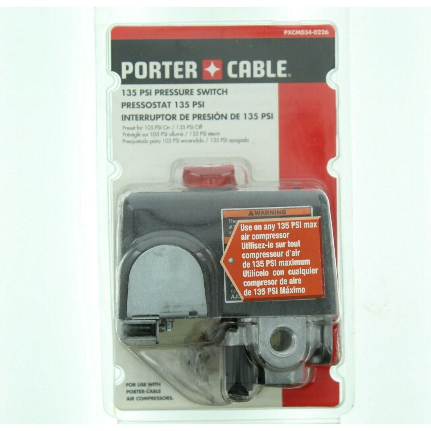 Porter Cable PXCM034-0226 105-135 PSI Air Compressor Pressur