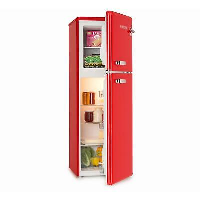 Nevera Combinada Congelador Freezer Frigorifico Eficiente A+ Diseño Retro Rojo