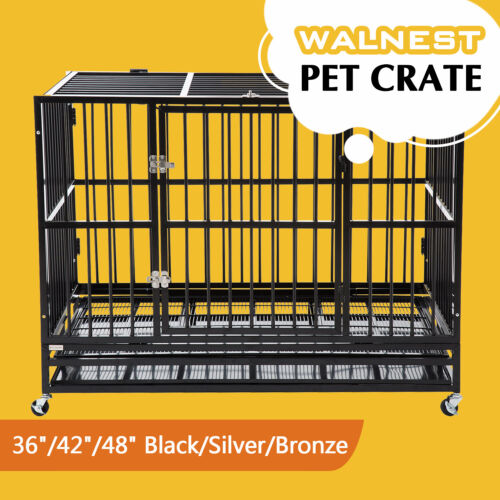 """37""""/42""""/48"""" Dog Crate Heavy Duty Large Kennel Pet Cage House Tray Wheels Latches"""