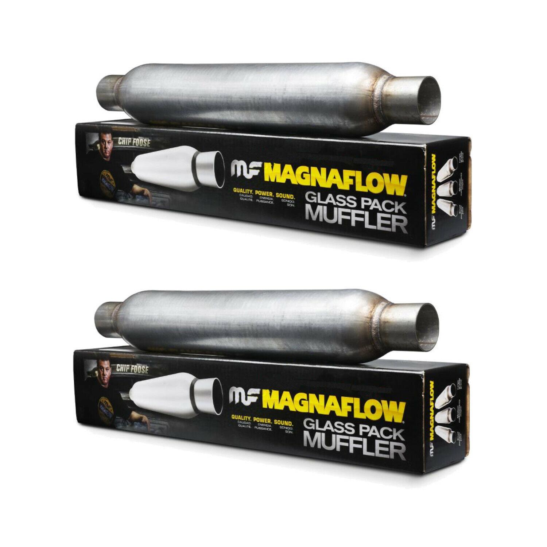 """2.5/"""" Muffler C//C MagnaFlow 26/"""" Body 4/"""" Round Universal SS Performance Pack of 2"""