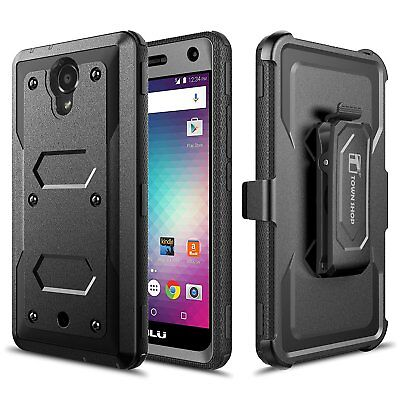 BLU R1 HD Case, Impact Armor Hybrid Belt Clip Case with Built-in Screen