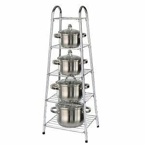 5 Tier Chrome Kitchen Pan Stand Pot Saucepan Storage Organise Unit Rack Holder