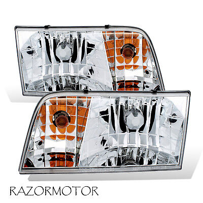 1998-2011 Replacement Headlight Pair For Ford Crown Victoria w/Bulb + Socket ()