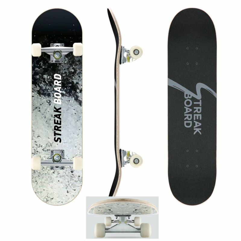 Ink Complete Skateboard Double Kick Deck Concave With White Wheels 31