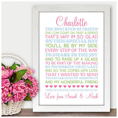 Personalised Thank You Gifts for Bridesmaid Maid of Honour Best Friend Poem