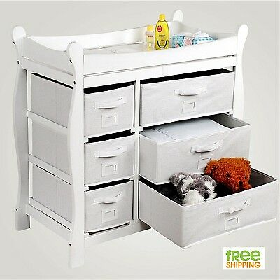 Baby Dresser Changing Table Drawer Nursery Furniture White Wood Changer New!
