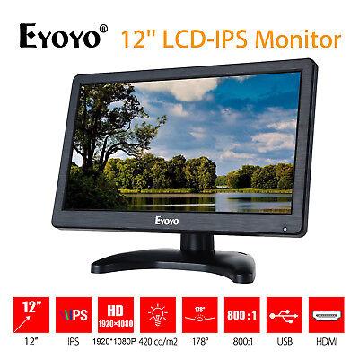 "12"" HD 1920x1080 Monitor de Eyoyo LCD IPS Color pantalla HDMI AV VGA BNC"