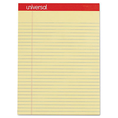 Universal Perforated Edge Writing Pad Legalmargin Rule Letter Canary 50 Sheet