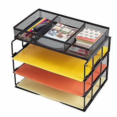 Mesh Desktop Office Organizer 3-tier Stackable Paper Letter Tray With