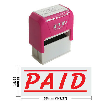 PAID w. 2 lines Self Inking Rubber Stamp - JYP 4911R-33  RED INK 2 Self Inking