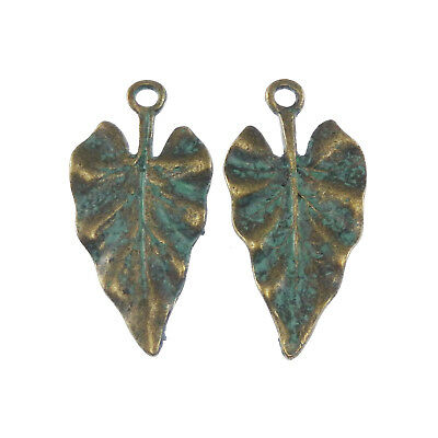 Vintage Bronze Patina Tone Alloy 30*14*1mm Tree Leaf Look Charms Pendants 20PCS
