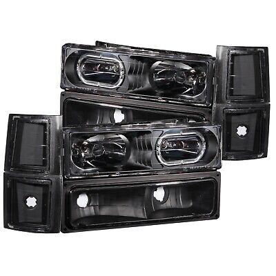 ANZO CRYSTAL HEADLIGHTS WHALO BLACK FITS 1994-1998 CHEVROLET C1500 ANZ111102
