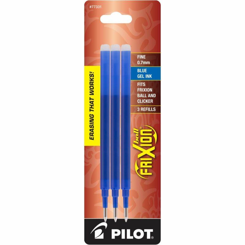 Pilot FriXion Ball Erasable Gel Ink Refills, 0.7mm, Fine Point, Blue Ink, 3 CT