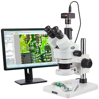 Amscope 7x-45x Dissecting Circuit 144-led Zoom Stereo Microscope With 3mp Digita