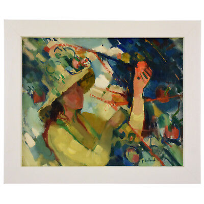 French painting of a woman with hat in the garden by Paul Collomb 1950