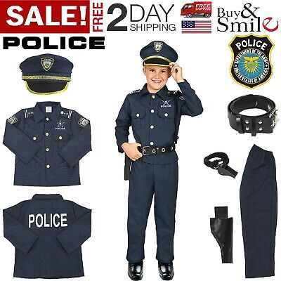 Police Costume For Boy (Kids Police Officer Costume Halloween Cosplay Boys Outfit Realistic Set Uniform)