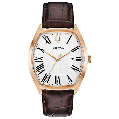 Bulova Classic Men's Ambassador Quartz Tonneau Rose Gold Tone 37mm Watch 97B173