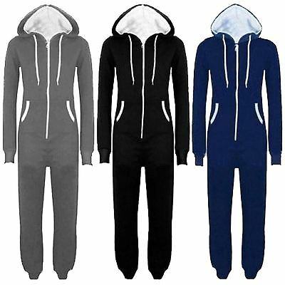 Plus Size Onesies For Men (New Unisex Womens Mens Zip Up Hooded Playsuit All In One Onesie Jumpsuit)