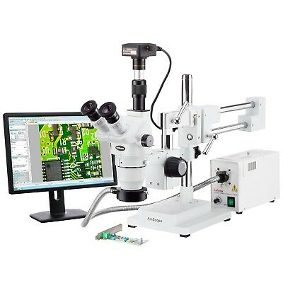 Amscope 2x-225x Trinocular Boom Stand Stereo Zoom Microscope 18mp Camera