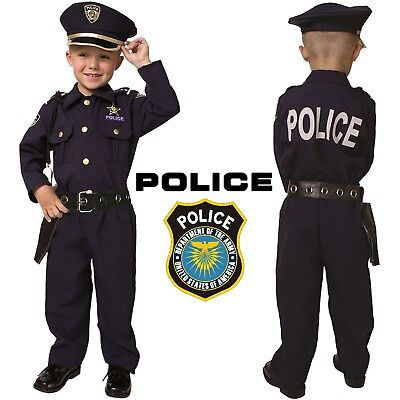 Boys Halloween Costume (Realistic Police Officer Costume Policeboy Cosplay Outfit Halloween Cop)