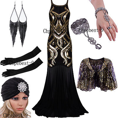 Women's 1920s Beaded Straps A-Line Floor Length Gatsby Prom Evening Gowns Dress ()