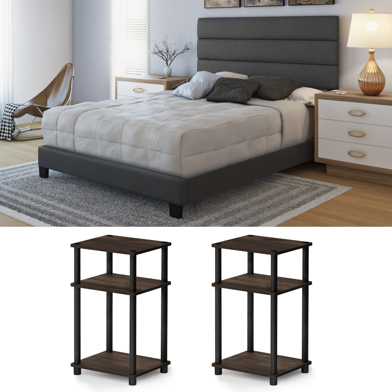 Queen Size Bedroom Set Furtniture NEW 3 Piece Faux Leather Modern Bed