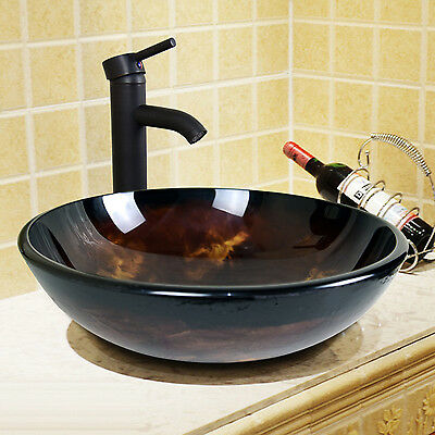 Bathroom Tempered Glass Round Oil Rubbed Bronze Vessel Sink Faucet Drain Combo