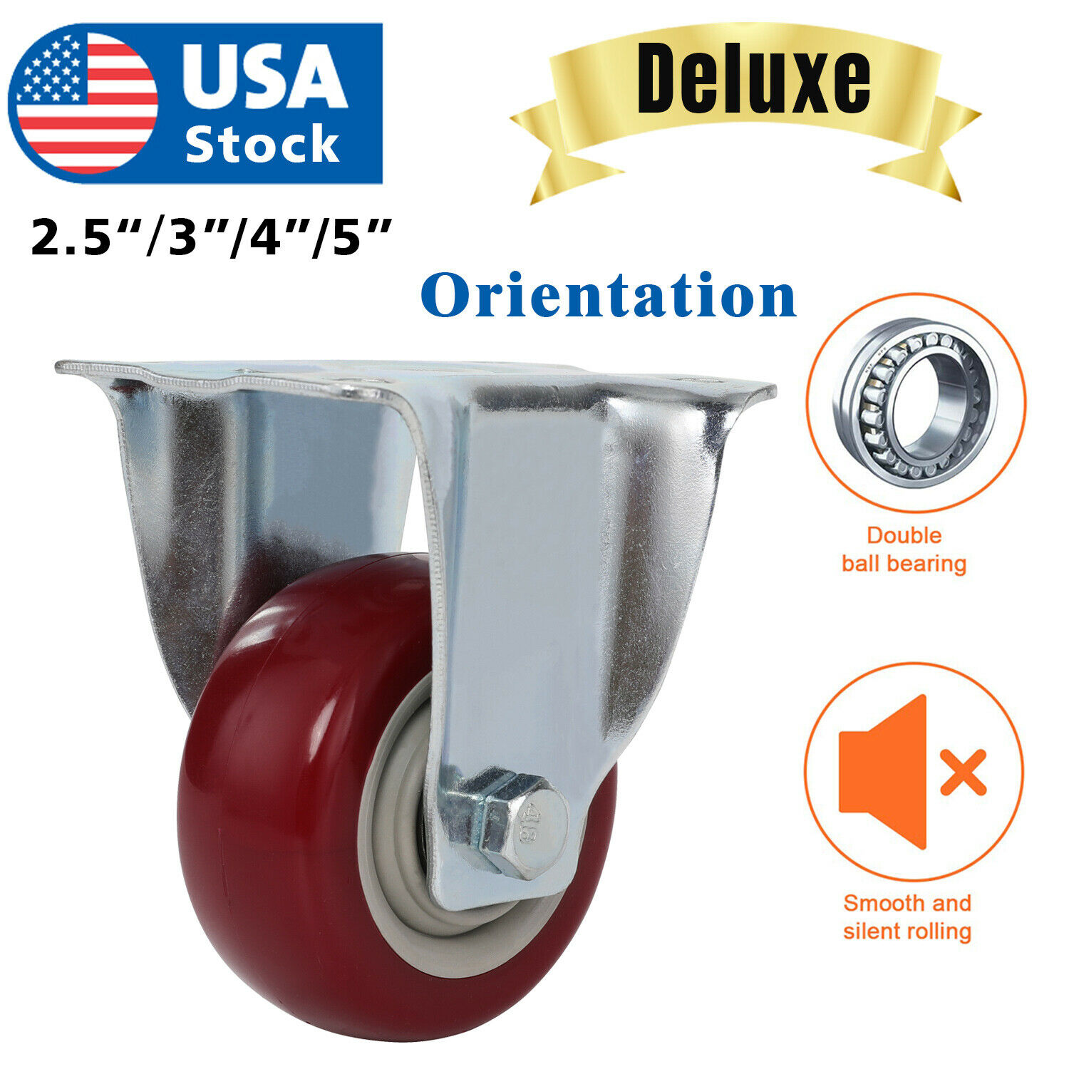 USA Heavy Duty Caster Set 3″ 4″ 5inch Polyurethane on Cast Wheels No Mark Red Business & Industrial