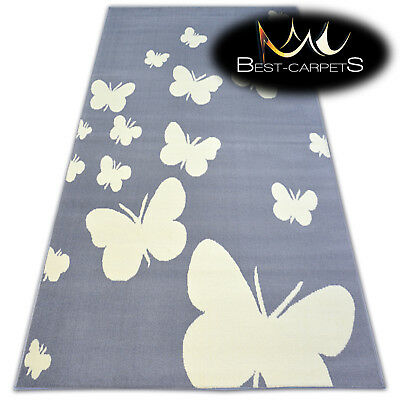 MODERN CARPETS 'FLASH' BUTTERFLY GREY CHEAP AREA Rugs