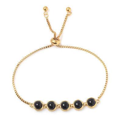 "18K Yellow Gold Black Onyx Magic Ball Strand Bead Adjustable Bolo Bracelet 7.5"""
