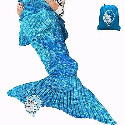 LAGHCAT Mermaid Tail Blanket Hand Crocheted For Adult Summer