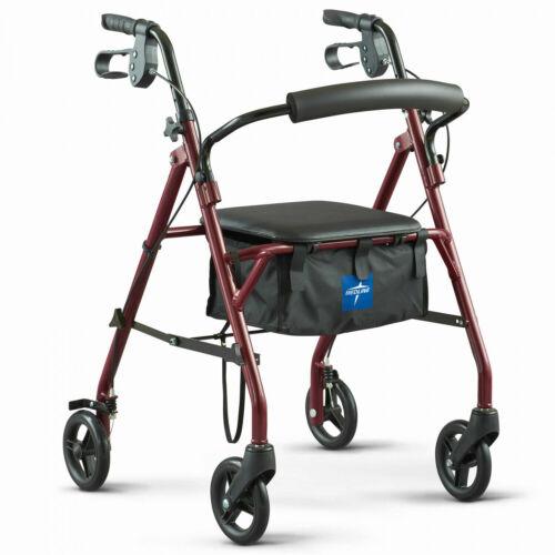 Medline FOLDING ROLLING WALKER Steel, Brakes, Seat, 350lb Weight Capacity, Red