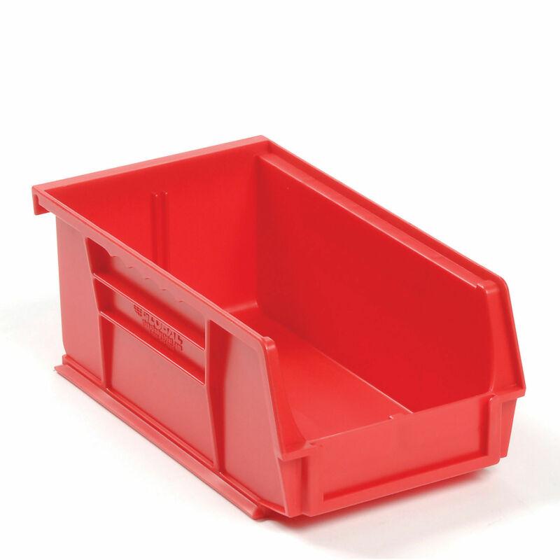 Plastic Storage Bin - Small Parts 4-1/8 x 7-3/8 x 3, Red, Lot of 24