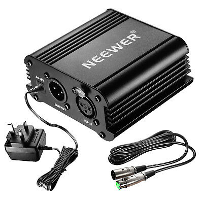 Neewer 1-Channel 48V Phantom Power Supply with Adapter and XLR Audio Cable MT@9