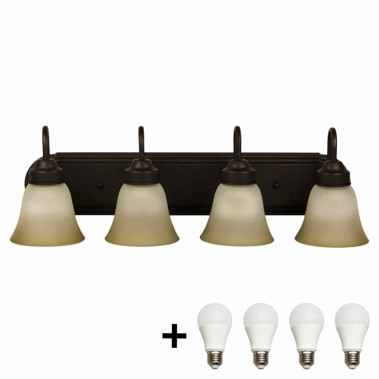 Bennington Luna 4 Light Bathroom Vanity Bar Fixture, Oil Rubbed Bronze + Bulbs Home & Garden
