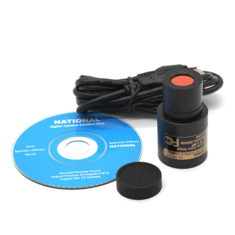 USB Digital Eyepiece Camera Still & Live Video Photo Imager for Microscope 0.3MP