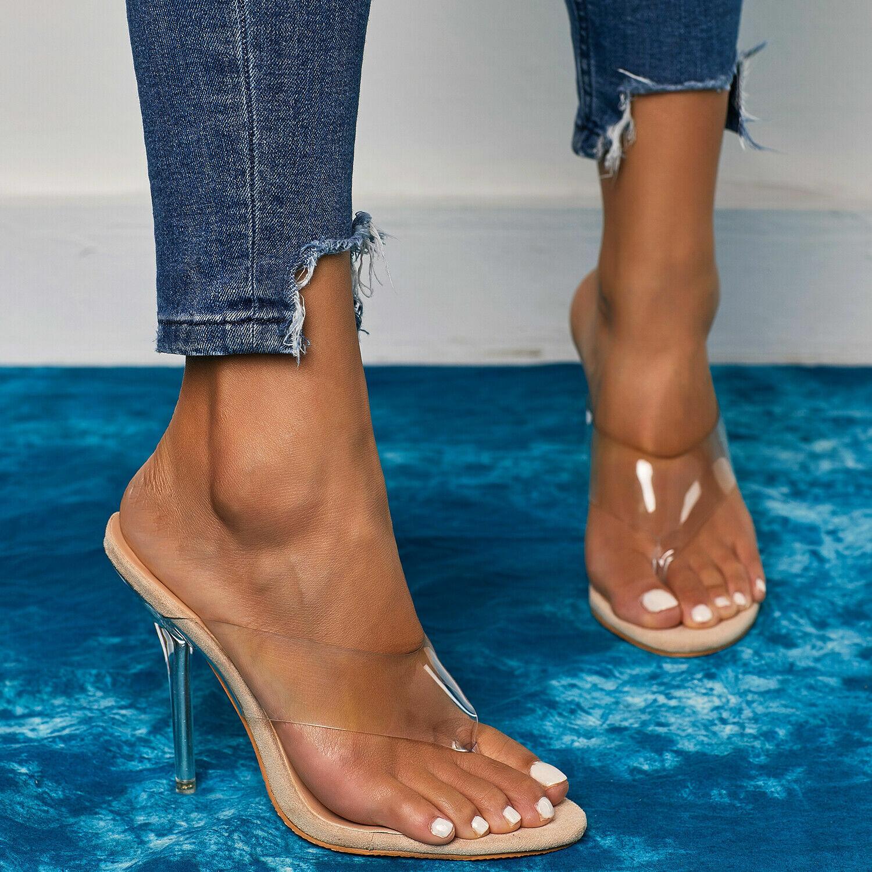 как выглядит New Fashion Women PVC Apricot Clear Slippers Transparent High Heels 11CM Sandals фото
