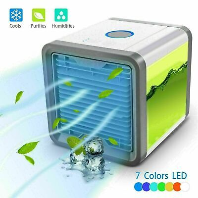 Portable Mini Air Conditioner - Cooling room Bedroom Cooler Fan Multi color LED