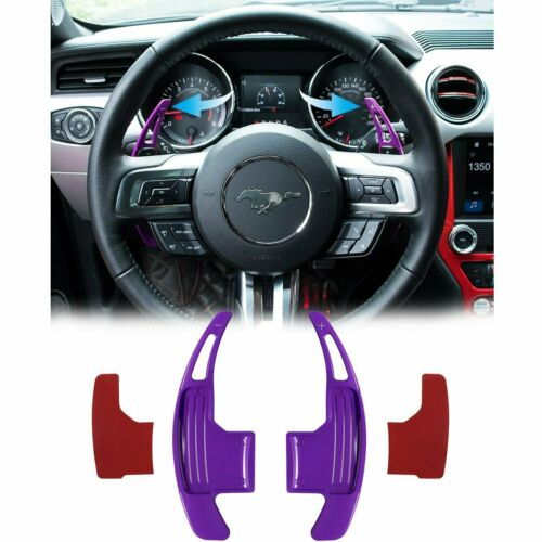 Black Three T Steering Wheel Shift Paddle Shifter Extension Trim Cover Aluminium Alloy Fit for 2015-2019 Ford Mustang