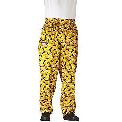 New Chefwear Mens Ultimate 100 Cotton Baggy Chef Pants Yellow Lemons Xs-5xl