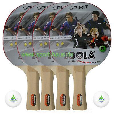 4 Stück Joola Tischtennis Schläger Spirit; Set mit 2 TT-Bällen, Donic Schildkröt
